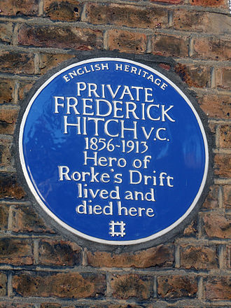 Frederick Hitch - Blue Plaque marking the home of Private Frederick Hitch V.C. at 62 Cranbrook Road, Turnham Green, London.