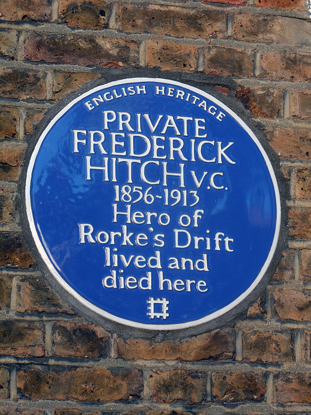 Frederick Hitch blue plaque - Private Frederick Hitch V.C. 1856-1913 hero of Rorke's Drift lived and died here