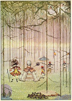 Page facing 104 illustration from Fairy tales of Charles Perrault (Clarke, 1922)