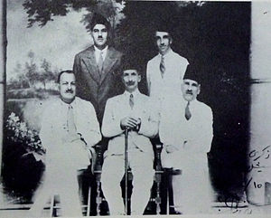 Husayn Al-Khalidi - al-Khalidi, seated in front,  together with the four other deportees in Seychelles, 1938.