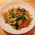 Pan fried noodles with pork and vegrtables 豚肉野菜餡のかた焼きそば.jpg
