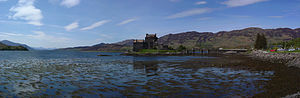 Loch Duich - Loch Duich and Eilean Donan Castle, with the Isle of Skye in the distance