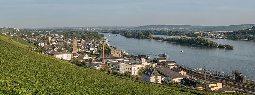 A panoramic view of Rüdesheim am Rhein, looking towards east.
