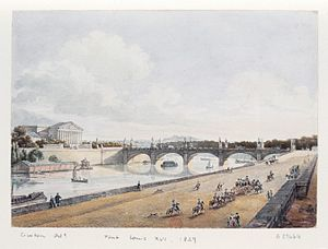 Pont de la Concorde (Paris) - The bridge in 1829, with the 12 statues