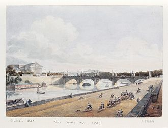 Pont de la Concorde (Paris) - The bridge in 1829, with the 12 statues