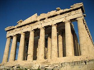 Batı yönünden Partenon tapınağı, Yunanistan