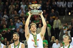 FIBA Europe Men's Player of the Year Award - Pau Gasol (center) won the FIBA Europe Player of the Year award 2 times (2008, 2009).