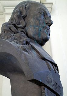 Ehren-Büste für den einstigen Schüler Paul Gerhardt im Gymnasium St. Augustin Grimma (Haupt-Eingang) (Quelle: Wikimedia)