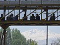 Pedestrian Bridge with Mountain Backdrop - Srinagar - Jammu & Kashmir - India (26837197835).jpg