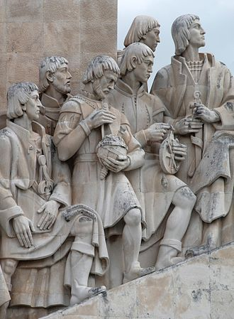 Pedro Nunes - Detail of the Monument to the Portuguese Discoveries showing the well-known navigators. Left to right:  Jácome de Maiorca (cosmographer and chart maker), Pedro Escobar (navigator), Pedro Nunes (shown holding an armillary sphere), Pêro de Alenquer (navigator), Gil Eanes (navigator) and finally João Gonçalves Zarco (navigator)