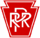 "White letters ""PRR"" on keystone-shaped, red background"