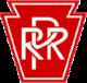 Lettres blanches «PRR» sur fond rouge en forme de trapèze