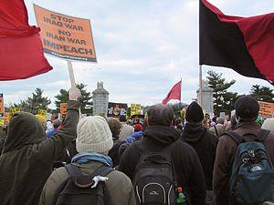 March 17, 2007 anti-war protest - Marchers cross Memorial Bridge into Virginia en route to The Pentagon.