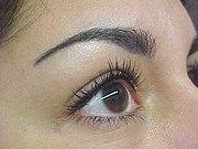 Les yeux et les sourcils de femmes avec des tatouages qui montrent un maquillage permanent sur les sourcils