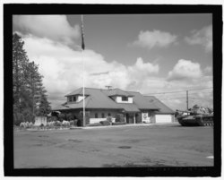 Perspective view of the Post Operations Building (Mess Hall, 1912), view looking northwest - Camp Withycombe, Southeast Clackamas Road, Clackamas, Clackamas County, OR HABS OR-185-10.tif
