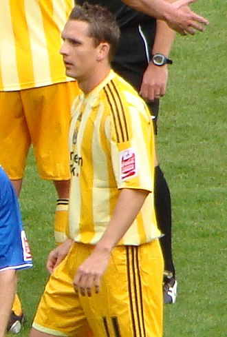 Peter Løvenkrands - Løvenkrands playing for Newcastle United away at Cardiff City on 13 September 2009.