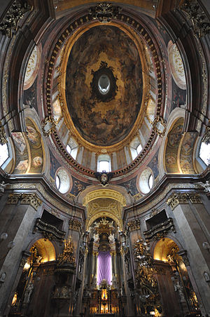 St. Peter's Church, Vienna - View of the dome and altar