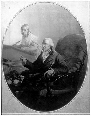 Gottlieb Konrad Pfeffel - Pfeffel dictating to his daughter, image accompanying a text dedicated to Johann Georg Jacobi, 1800