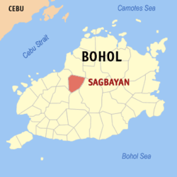 Map of Bohol with Sagbayan highlighted