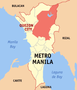 Map o Metro Manila showin the location o Quezon Ceety