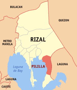 Map of Rizal showing the location of Pililla