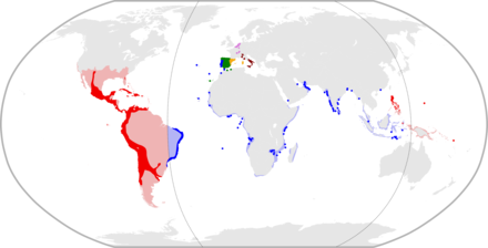 A century after Columbus' first voyage, large parts of the New World had been included into the Spanish Empire. Philip II's realms in 1598.png