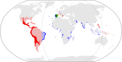 Map of the Spanish-Portuguese Empire in 1598. .mw-parser-output .legend{page-break-inside:avoid;break-inside:avoid-column}.mw-parser-output .legend-color{display:inline-block;min-width:1.25em;height:1.25em;line-height:1.25;margin:1px 0;border:1px solid black;background-color:transparent;color:black}.mw-parser-output .legend-text{}   Territories administered by the Council of Castile .mw-parser-output .legend{page-break-inside:avoid;break-inside:avoid-column}.mw-parser-output .legend-color{display:inline-block;min-width:1.25em;height:1.25em;line-height:1.25;margin:1px 0;border:1px solid black;background-color:transparent;color:black}.mw-parser-output .legend-text{}   Territories administered by the Council of Aragon .mw-parser-output .legend{page-break-inside:avoid;break-inside:avoid-column}.mw-parser-output .legend-color{display:inline-block;min-width:1.25em;height:1.25em;line-height:1.25;margin:1px 0;border:1px solid black;background-color:transparent;color:black}.mw-parser-output .legend-text{}   Territories administered by the Council of Portugal .mw-parser-output .legend{page-break-inside:avoid;break-inside:avoid-column}.mw-parser-output .legend-color{display:inline-block;min-width:1.25em;height:1.25em;line-height:1.25;margin:1px 0;border:1px solid black;background-color:transparent;color:black}.mw-parser-output .legend-text{}   Territories administered by the Council of Italy .mw-parser-output .legend{page-break-inside:avoid;break-inside:avoid-column}.mw-parser-output .legend-color{display:inline-block;min-width:1.25em;height:1.25em;line-height:1.25;margin:1px 0;border:1px solid black;background-color:transparent;color:black}.mw-parser-output .legend-text{}   Territories administered by the Council of the Indies .mw-parser-output .legend{page-break-inside:avoid;break-inside:avoid-column}.mw-parser-output .legend-color{display:inline-block;min-width:1.25em;height:1.25em;line-height:1.25;margin:1px 0;border:1px solid black;background-color:transparent;color:black}.mw-parser-output .legend-text{}   Territories appointed to the Council of Flanders