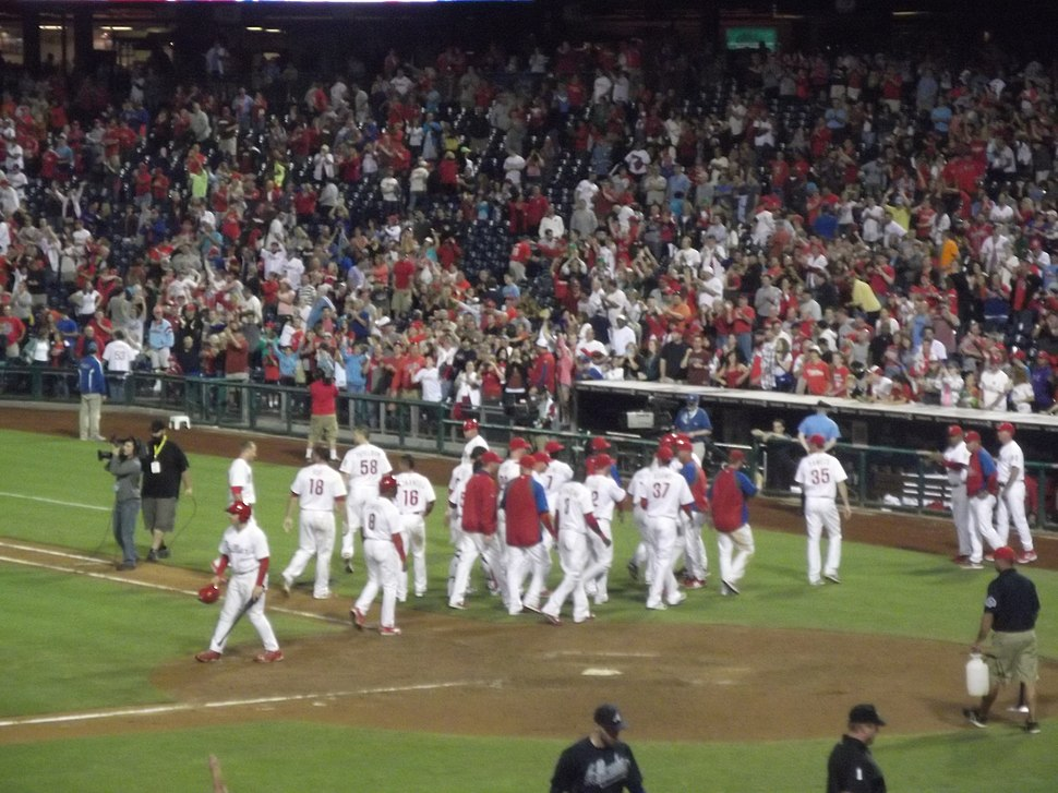 Phillies Celebrate after Walk-off Win