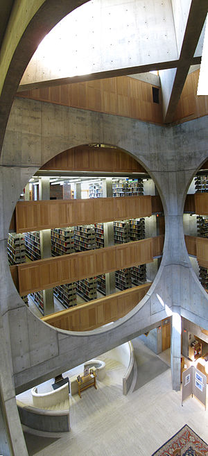 Phillips Exeter Academy Library - Exeter Library atrium with crossbeams above and circular staircase below
