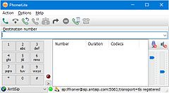 Screenshot of PhonerLite application