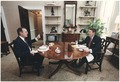 Photograph of President Reagan and Vice-President Bush eating lunch in the Oval Office Study - NARA - 198591.tif