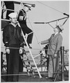 Photograph of President Truman and Fleet Admiral William D. Leahy inspecting the U.S.S. TUSK, a submarine, during the... - NARA - 198651.tif