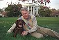 Photograph of President William Jefferson Clinton with Buddy the Dog- 04-06-1999 (6461541617).jpg