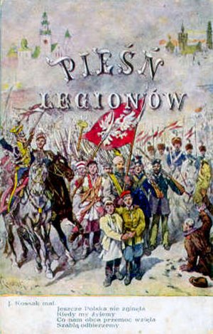 "Poland Is Not Yet Lost - One of a series of postcards, designed by Juliusz Kossak, illustrating the lyrics of ""Mazurek Dąbrowskiego"""