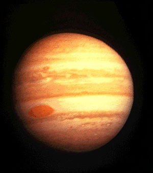 Great Red Spot - Image of Jupiter by Pioneer 10 in 1974, showing a more solid-looking spot than when shown by Voyager 1 in 1979