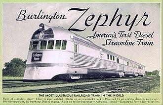 Pioneer Zephyr - Burlington Zephyr postcard
