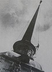 Адмиралтейство. Снятие маскировочного чехла со шпиля. 1944 год