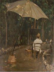 Il pittore Tommasi che dipinge
