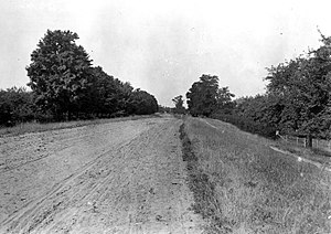 Beach ridge - Road built on crest of Glacial Lake Iroquois beach ridge, Orleans County, New York, 1889.