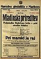Plakat za Mladinska prireditev Podmladka Rudečega križa v prid otroške bolnice Pri mamici je raj v Narodnem gledališču v Mariboru 6. maja 1925.jpg