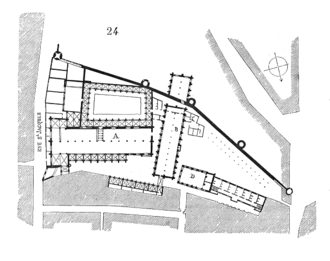Couvent des Jacobins de la rue Saint-Jacques - Plan of the couvent des Jacobins de la rue Saint-Jacques, by Eugène Viollet-le-Duc. Key - A: church; B: refectory (with the 'parloir aux bourgeois' on the other side of the enclosure) ; D: école Saint-Thomas.