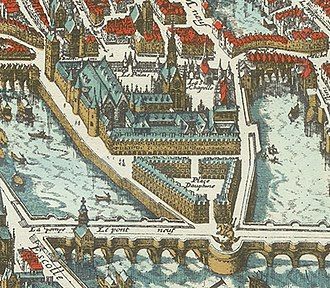 Palais de la Cité - The Palace in 1615.  Place Dauphine had replaced the Palace garden, and the Pont Neuf had just been finished.