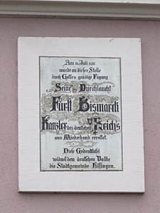 Plaque (Assassination attempt, Bismarck, Bad Kissingen) – 20130220-028.JPG