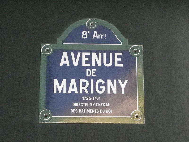 Fichier:Plaque de l'avenue de Marigny, dans le 8e arrondissement de Paris.JPG