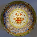 Plate with the arms of Goodwin of Devon and Suffolk, China, Qing dynasty, Yongzheng period, c. 1730, porcelain, polychrome enamel, gold - Montreal Museum of Fine Arts - Montreal, Canada - DSC09383.jpg