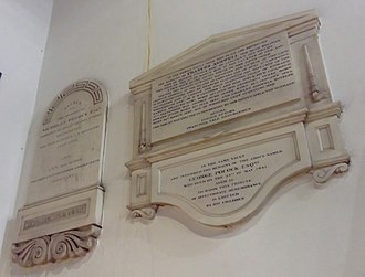 Nicholas Pocock - His wall memorial in Holy Trinity Church, Cookham (left), beside those of his daughter in law Frances Ashwell (top right) and his son George (bottom right).