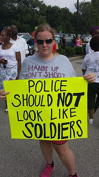 Ferguson unrest - Image: Policesign