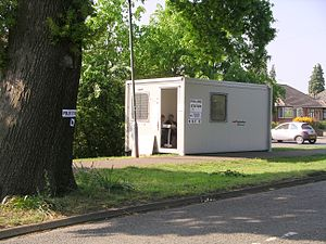 United Kingdom local elections, 2007 - A polling station in a temporary cabin in position for the UK council elections on 3 May 2007.