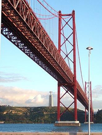 25 de Abril Bridge - View with the Christ the King Sanctuary