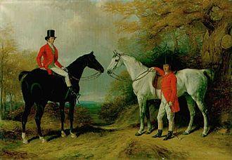 Samuel Richard Block - Portrait of Samuel Richard Block, of Greenhill, Barnet, later High Sheriff of Hertfordshire, and his third son, Adam Henry Block. William Barraud, oil on canvas, 1846.